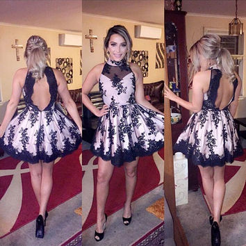 Homecoming Dresses, High-Neck Black Lace Short Homecoming Dress with Appliques