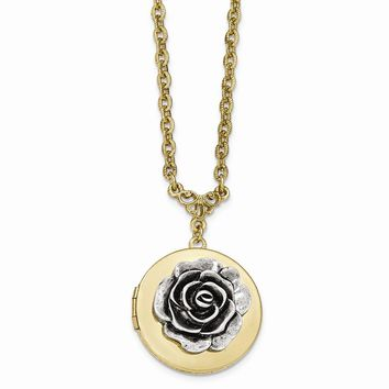 Gold-tone Polished Flower Round Locket w/3in ext. Necklace