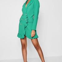 Kate Ruffle Double Breasted Blazer Dress | Boohoo