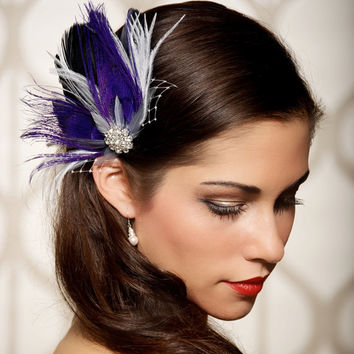 Purple, Black, Bridal Headpiece, Purple Hair Clip, Bridal Fascinator, Hair Clip, Vintage Inspired, Wedding Hair Piece, Hair Comb, STYLE 012