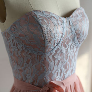 Bustier Dusty Blue Lace Coral Pink Chiffon Long Bridesmaid Dress Prom Dress Strapless Sweetheart Dress