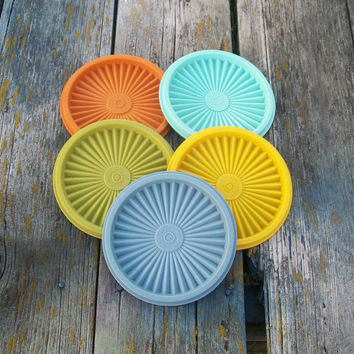 Vintage Tupperware Lids Replacement Orange Turquoise Yellow Green Blue Servalier Set of 5