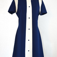 Vintage 1960s Dress Navy and Ivory Mod Chic Carole King