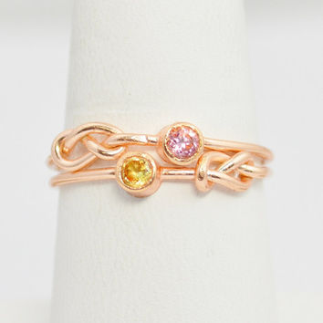 Grab 2 14k Rose Gold Filled Infinity Ring, Rose Gold Filled Ring , Stackable Rings, Mothers Ring, Birthstone, Rose Gold, Rose Gold Knot Ring