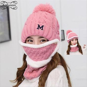 Big Fur Ball Knitted Ski Hats Scarf Neck Warmer Skiing Bibs Winter Snow Snowmobile Ladies Beanie Beanies Thicken Mask Bibs