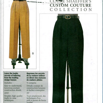 Claire Shaeffer Custom Couture Womens Misses Petite Straight-Leg Pants Front Pleats Mock Fly Zipper Cuffs Vogue 7468 UNCUT Sewing Patterns