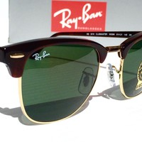 NEW* Ray Ban Clubmaster TORTOISE Green Classic G-15 Len 51 mm RB3016 Club Master