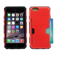 Apple iPhone 6S/ 6 4.7 Red Rubber Protective Case w/ Credit Card Holder""