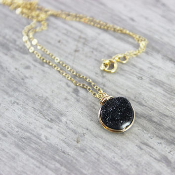 Black Druzy Necklace, Druzy Gemstone Necklace, Gold Fill Necklace, Wire Wrap Necklace, Gold Druzy Necklace, Druzy Quartz, Small Pendant