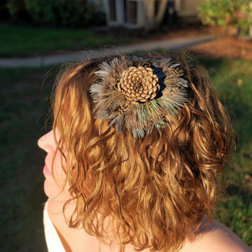 Pheasant feather and Pineflower headband