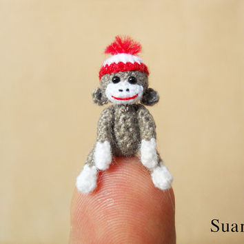 Gray Sock Monkey With Hat  08 Inch Miniature Crocheted by SuAmi