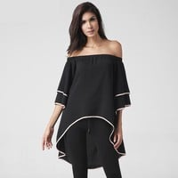 Bold Outlined Off Shoulder Half Sleeve Blouse for Women