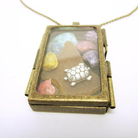 Sea Shell Pendant Colourful Seashells Sea Glass Silver Turtle Pendant Necklace