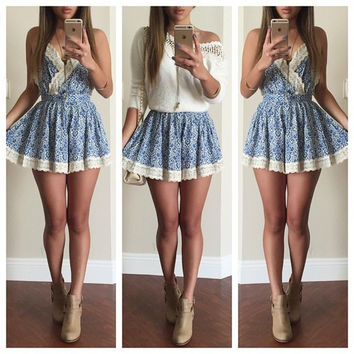 Blue Floral Print Spaghetti Strap with Lace Accent Mini Dress