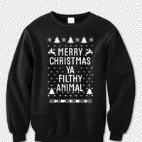 Merry CHRISTMAS Ya FILTHY Animal 3547 Sweater Man and Sweater Woman