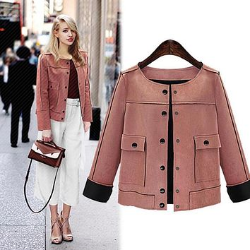 British style Women Short Jacket Fashion Autumn Slim vintage Chamois Leather Suede jacket For Ladies
