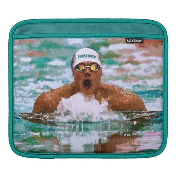 Swimmer Athlete In Pool With Water Drops Painting Sleeve For iPads
