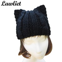 Winter Hats for Women Girl Black Cute Cat Ear Meow Kitty Woman Wool Cap Hand Knitted Hats High quality Skullie Beanie Bonnet Cap