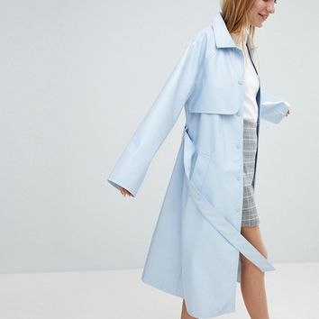 Monki Vinyl Trench Coat at asos.com