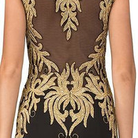 Designer Runway Black Gold embroidered gown Prom dress Pageant Party mermaid