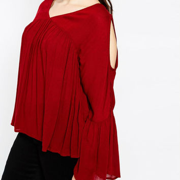 Plus Size Red Cut-Out BellSleeve V-Neck Ruched Loose Blouse