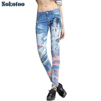 Sokotoo Women's fashion butterfly and beauty painted print jeans Denim skinny pencil pants Long trousers