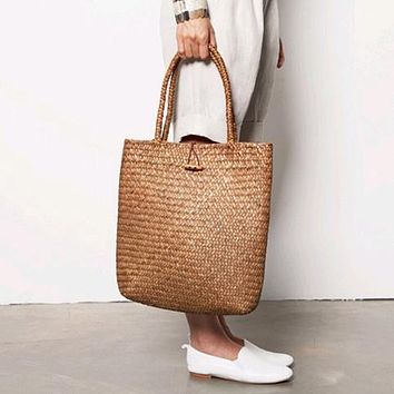 New Beach Bag for Summer Big Straw Bags Handmade Woven Tote Women Travel Handbags Designer Vintage Shopping Hand Bags