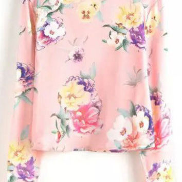 Pink Floral Print Long Sleeve Cropped Top