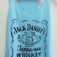 Blue Jack Daniels whiskey sign Tank top size S/M polyester cotton blend singlet top for women