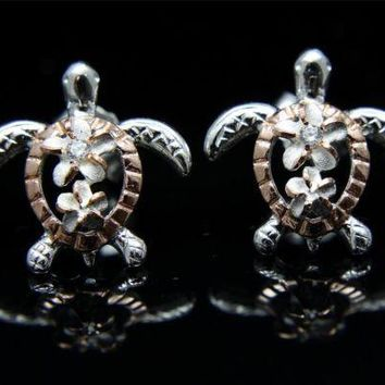 SILVER 925 ROSE GOLD PLATED HAWAIIAN PLUMERIA HONU TURTLE EARRINGS 13.40MM