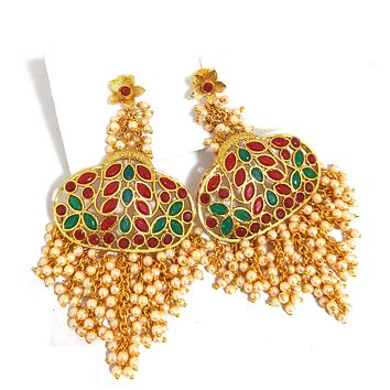 Statement earring - Pearl cluster bead dangling polki stone embedded designer gold imitation earring