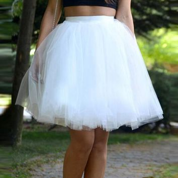 White Patchwork Pleated Grenadine Fluffy Puffy Tulle High Waisted Skirt