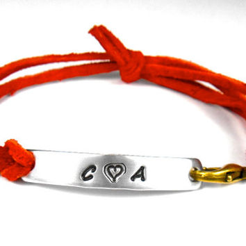 Initial or Name Bracelet, Hand stamped, Leather band with aluminum, word,initial or quote bracelet,