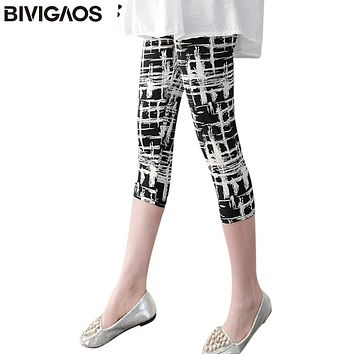 BIVIGAOS Women cropped trousers leggings flower striped black summer short legging pants stretchy spandex leggins pantalon