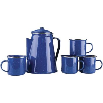 Stansport Enamel Percolator Coffee Pot & 4 Mug Set