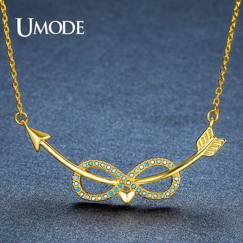 UMODE New Cute Lake Blue Infinity Love Heart Pendant Necklaces for Women & Couple Curved Cupid's Arrows Crystal Pendant UN0242A