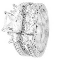 Sterling Silver Wedding Ring Set With Princess Cut Cubic Zirconia in Four Prongs with Two Princess Cut Side stones