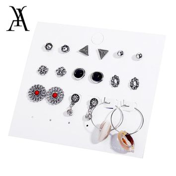 Vintage Shell Earrings for Women Silver Color Crystal Geometric Round Triangle Flower Mixed Earring Set Brincos 9 pairs/set