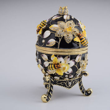 Keren Kopal Black Faberge Egg Handmade Decorated with Bees and Flowers with Swarovski Crystals Enamel Paint Gold Plated