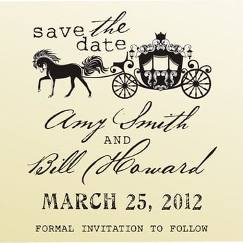 Royal carriage SAVE THE DATE vintage design typewriter font rubber stamp clear block mounted -style 6033  - custom wedding stationary