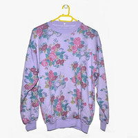 Purple Floral Rose Sweatshirt for Women Vintage 90s Medium Large M L