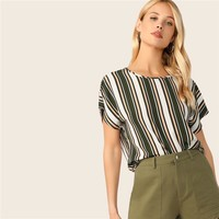 Back Colorblock Striped Blouse Womens Tops Blouses Casual Batwing Sleeve Round Neck Ladies Tops