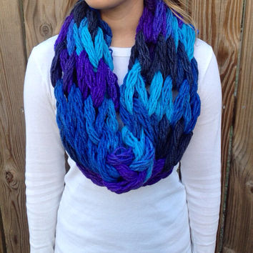 Dash Twilight ( blue and purple ) arm knit cowl, knit cowl, arm knit scarf, chunky infinity scarf