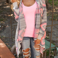 Long Sleeve Asymmetrical Irregular Printed Southwestern Style Outer Wrap