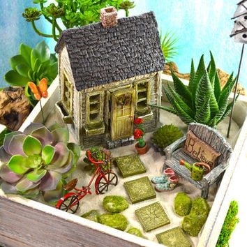Fairy Garden Planter Kit ~ Quaint Cottage ~ Miniature Garden Set ~ Sand NOT Included ~ Fake Succulent/Fairy Option at Checkout