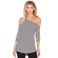 Stripe Long Sleeve Knit Cutout Shirt