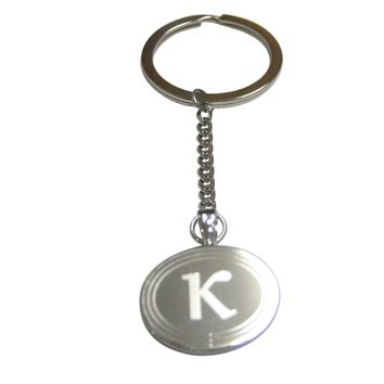 Silver Toned Etched Oval Greek Letter Kappa Pendant Keychain