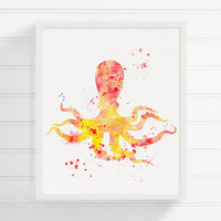 Octopus Art, Octopus Print, Octopus Painting, Red and Yellow, Nautical Wall Decor, Bathroom Decor, Coastal Wall Decor, Kids Room Decor