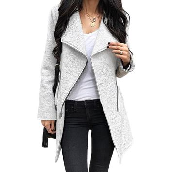 Coats Woman Winter Fashion Zippers Asymmetric Women Blend Coat Grey Long Sleeve Turn-downCollar Female Overcoat