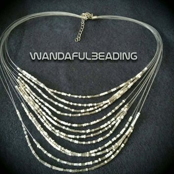 White & Grey Seed Bead Multi-Strand Choker Necklace